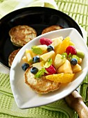 Yoghurt cakes with fruit salad