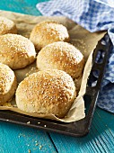 Homemade hamburger buns with sesame seeds