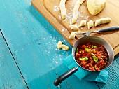 Gnocchi with a tomato and caper sauce