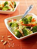 Broccoli salad with pine nuts