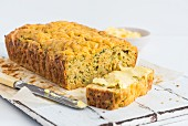 Cheese and courgette bread with herbs, sliced
