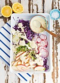 Raw vegetable salad with fennel, apples, red cabbage and radishes