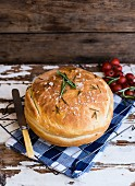 Stuffed bread with salt and rosemary