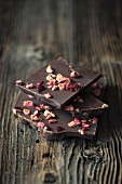 Pieces of chocolate with dried cranberries