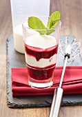 Cherry compote with yoghurt cream