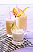 Mango lassi, a vitamin shake and a lemon yoghurt shake