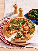 Malaysian satay chicken pizza