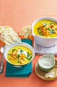 Curried sweet potato soup with raita