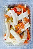 Florentine tripe salad in a plastic container