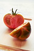 An heirloom tomato, halved