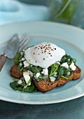 Toast topped with spinach, ricotta and a fried egg