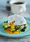 Poached egg on vegetables