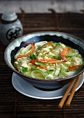 Oriental chicken soup with noodles