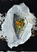 Seabass with a peppermint pesto in parchment paper
