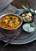 Indian dahl with broad beans and a yoghurt and mint sauce