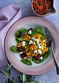 Spelt risotto with pumpkin, beetroot, spinach and goat's cheese