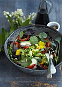 A summer salad with goat's cheese and dried tomatoes
