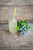 Rhubarb lemonade in a mini glass bottle next to a bouquet of forget-me-nots