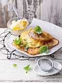 Pancakes with basil and icing sugar
