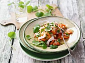 Papaya salad with turkey and watercress