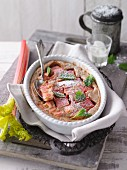 Rhubarb clafoutis with mint