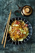 Fried Japanese noodles with vegetables and yamazaki