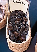 Wood ear mushrooms in a basket