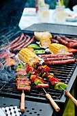 Sausage kebabs, sausages and vegetables on a barbecue