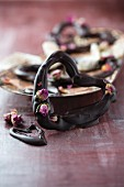 Chocolate hearts with dried rose buds