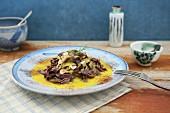 Pasta al cacao con salsa allo zafferano (cocoa pasta with saffron sauce, Italy)