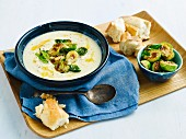 Roast cauliflower soup with buttered sprouts