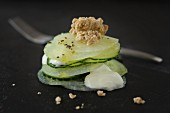 Cucumber and celery salad with soya yoghurt and almond crispies