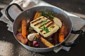 Halloumi with root vegetables