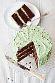 Mint chocolate chip cake, sliced