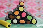 A stack of flavoured liquorice sticks