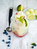 A melon smoothie with blueberries