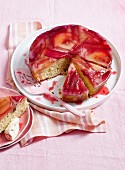 Rhubarb and apple upside-down cake