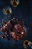 Whiskey and chocolate pudding with cherries