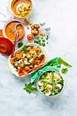 Tomatensuppe, Möhrenspaghetti mit Hackbällchen und Nudeln mit Frühlingsgemüse und Eiern