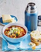 Sausage, bean, speck and pasta soup