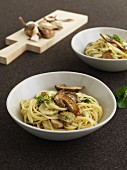Spaghetti alla chitarra with porcini mushrooms and mint
