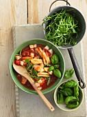 Zuppa di Cavatelli with tomatoes, rocket, potatoes and basil