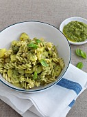 Fusilli with potatoes and green almond sauce