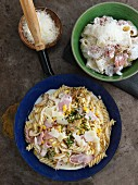 Calamarata alla Pastora and fusilli with fennel, sweetcorn and ham