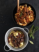Pappardelle con Lepre and tagliatelle with wild boar