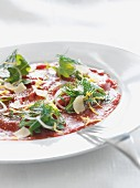 Beef carpaccio with onions and dill