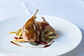 Duck leg with Jerusalem artichokes