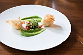 Goat's cheese with pea mousse and cress