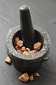 Coconut flower sugar in a mortar