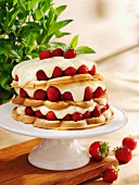 Strawberry waffle cake with lemon cream